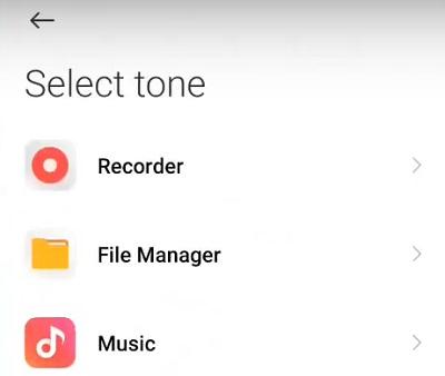 Choose App to open ringtones